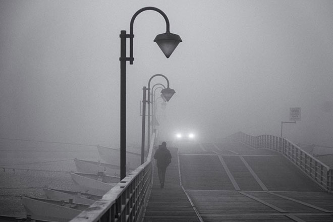 solitude nebbia ponte